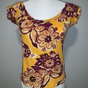 New York & Co. Yellow Floral Top